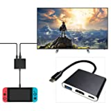 Nintendo Switch HDMI Adapter ,ANYQOO HDMI Type C Hub Adapter for Nintendo Switch, Samsung Galaxy S8/S8P,HDMI Converter Cable for Nintendo Switch (Black)