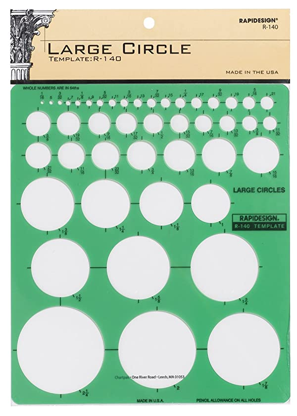 Rapidesign Large Circles Template, 1 Each (R140) (Color: Green)