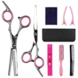 8 Pcs Hair Cutting Scissors Set Hairdressing Scissors Kit,Thinning Scissor,Bangs artifact,Hair Comb,Leather Scissors Case,Professional Barber Salon Home Shear Kit For Men Women Pet (Color: pink-01)