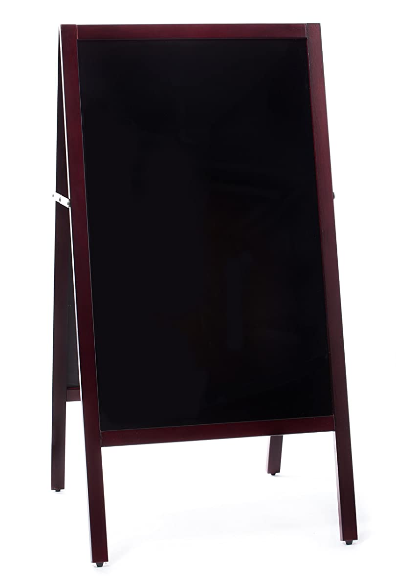 Large A-Frame Chalkboard Sidewalk Advertising Sign with Double-Sided Easy Erase Writing Surface | Outdoor Sandwich Menu Board with Classic Mahogany Finish. Includes Eraser