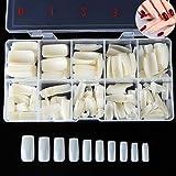 TAKIYA 500pcs False Nails Full Cover French Acrylic Style Artificial Nail Tips & Box (Natural) (Color: Natural)
