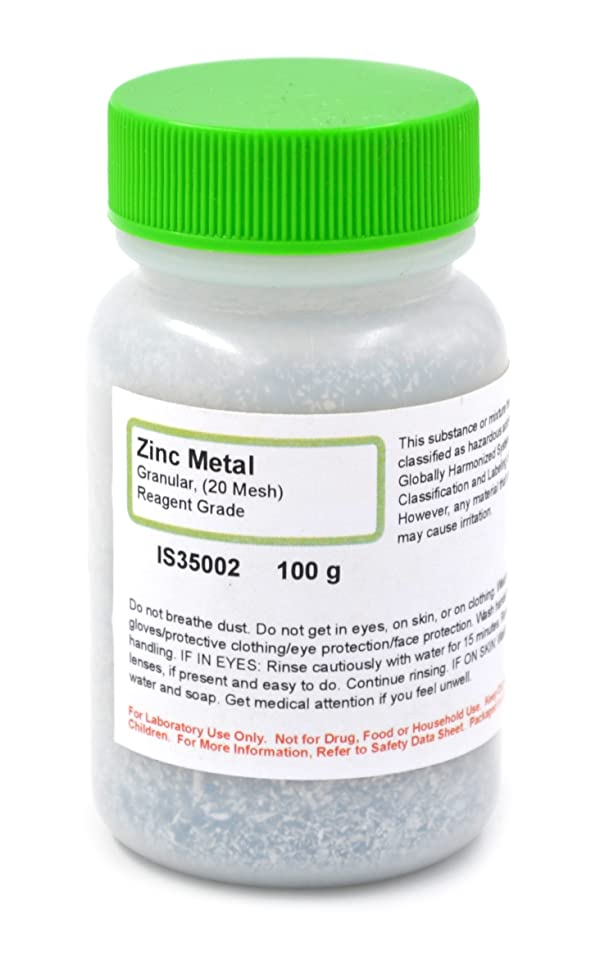 Reagent Grade Granular Metal Zinc, 20 Mesh, 100g - The Curated Chemical Collection