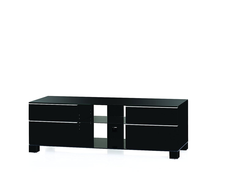 Sonorous MD 9340-B-HBLK-BLK Fernseher-Möbel mit Schwarzglas (Aluminium Hochglanz/Korpus Hochglanzdekor) schwarz
