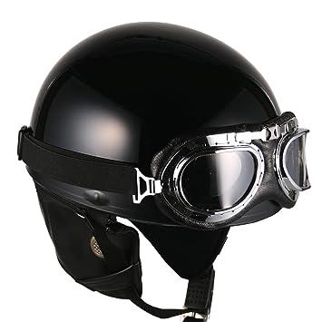 NEUF De Cru Moto Casque Bol Lunettes Scooter millésime (Noire)