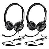 Mpow (2-Pack) USB Headset/3.5mm Computer Headset with Microphone Noise Cancelling, Lightweight PC Headset Wired Headphones, Business Headset for Skype, Webinar, Phone, Call Center (Color: Black)