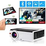 WiFi Bluetooth HDMI Projector 5000 Lumen Home Theater Multimedia LCD LED Smart Android 6.0 Video Proyector Support HD 1080P Wuxga Wireless Airplay Miracast HDMI USB VGA AV TV for Gaming Outdoor Movie (Color: Projector 5000Lumens-WiFi-Bluetooth)