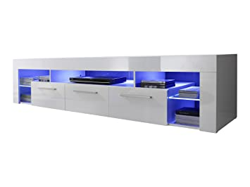 trendteam SC85401 Lowboard weiss Hochglanz, BxHxT 200 x 44 x 44 cm, inkl. Beleuchtung