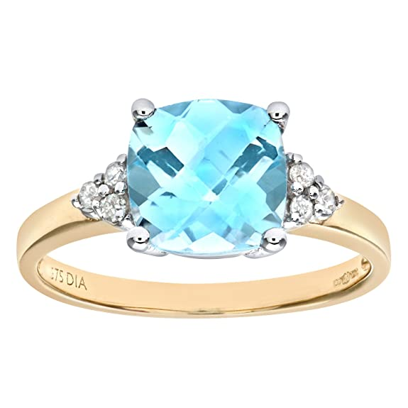 Naava 9ct Yellow Gold Cushion Cut Blue Topaz And Diamond Ring