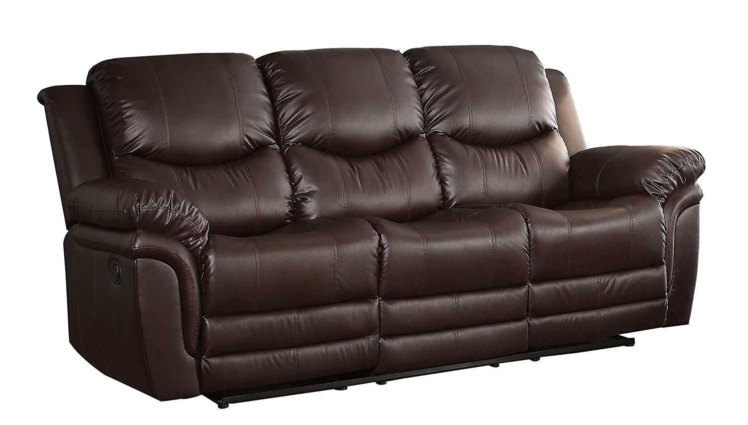 Homelegance St Louis Park Double Reclining Sofa in Brown Leather