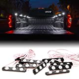 Xprite New Version 8pc 24 LEDs Cargo Truck Bed Rail Light Side Marker LED Lighting Kit w/ Switch-White