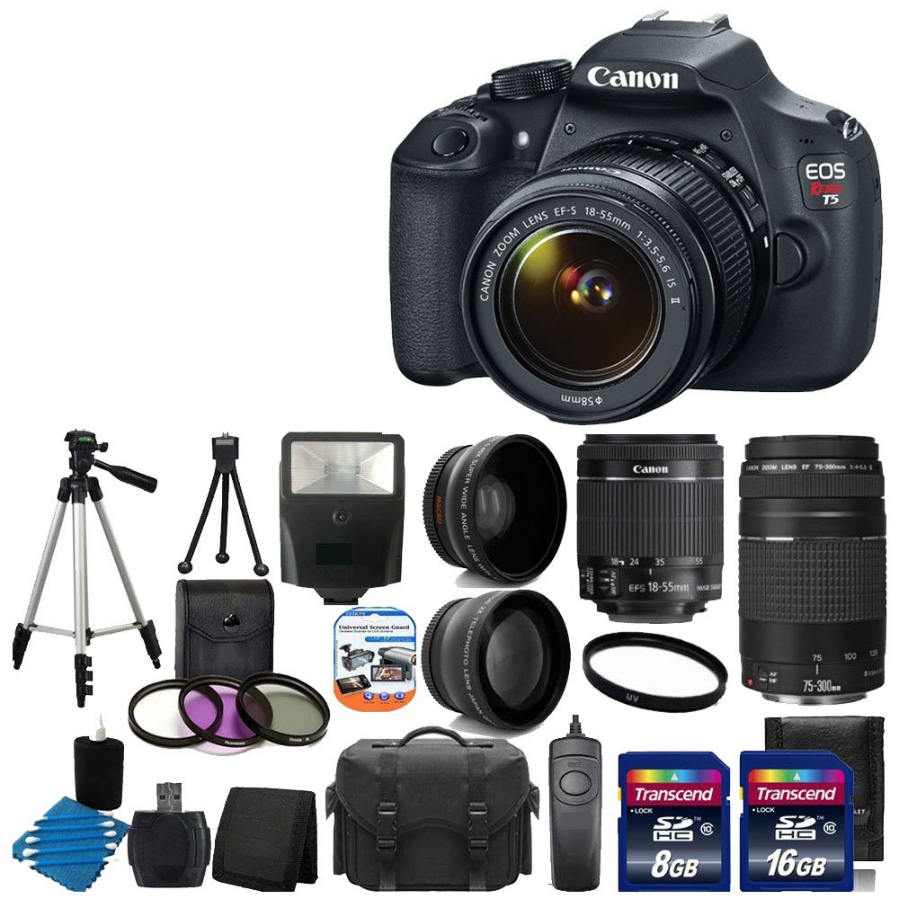 Canon-EOS-Rebel-T5-18MP-EF-S-Digital-SLR-Camera-USA-warranty-with-canon-EF-S-18-55mm-f-3-5-5-6-IS-Image-Stabilizer-II-Zoom-Lens-EF-75-300mm-f-4-5-6-III-Telephoto-Zoom-Lens-58mm-2x-Professional-Lens-High-Definition-58mm-Wide-Angle-Lens-Auto-Power-Flash-UV-