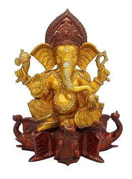 "Ganesh Statue - Sitting On Elephant - Brass Idol - Yellow - Antique Décor - 17"""