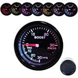 Dewhel Turbo Boost Vacuum Meter 30PSI Pressure Smoke 7 Color LED 52mm 12V Universal Auto Car Gauge Kit Interior Accessory for Honda Acura Mitsubishi Nissan Infiniti Lexus Toyota Scion Subaru etc (Color: 2