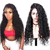 Glueless Lace Front Wigs Long Narural Curly High Density Synthetic Lace Wigs For Women With Baby Hair Natural Hairline Realistic Looking Heat Resistant Fiber Hair Wig Half Hand Tied 20inch (Color: Natural Black Color, Tamaño: 20 Inch Natural Curly)