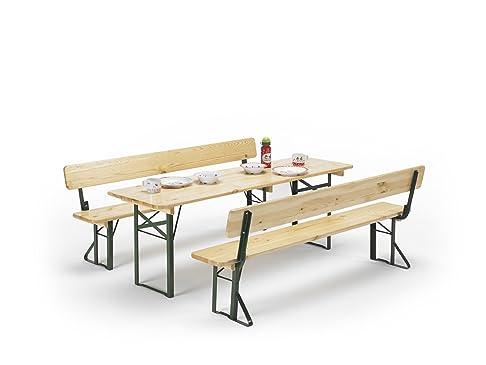 Traturio® - Tavolo e 2 panche con spalliera, set per bambini, dimensioni: 150 x 45 x 52 cm