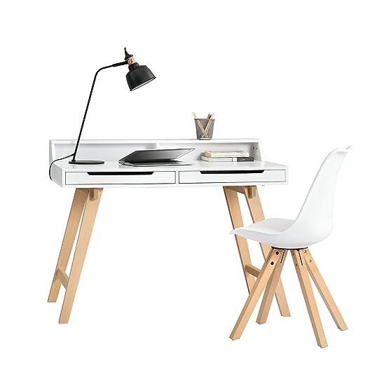[en.casa] Scivania retro (85x110x60cm) laccato bianco opaco con cassetto e una sedia bianca