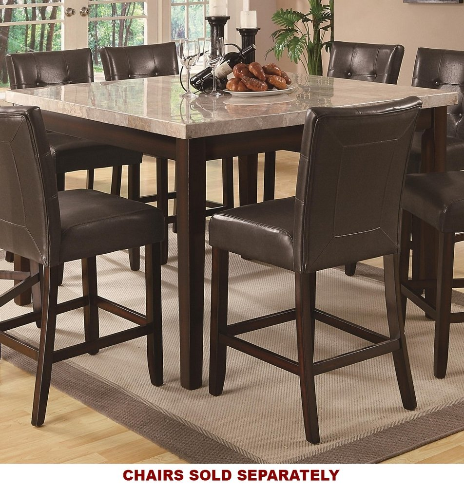 Coaster Home FurnishingsMilton Modern Transitional Real Marble Top Counter Height Dining Table - Cappuccino