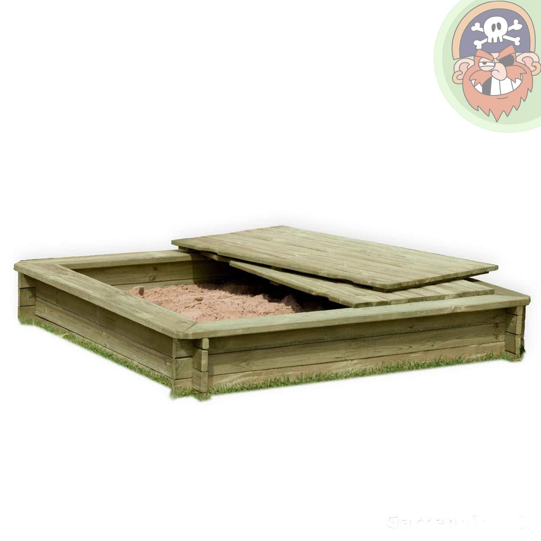 Sandkasten 180 x 180 cm aus Holz 30 mm imprägniert mit Deckel von Gartenpirat® online bestellen