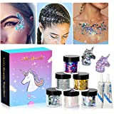 Holographic Chunky Glitter Makeup Set - 6 Jars iMethod Cosmetic Glitters Flakes for Festival Face Makeup, Body, Hair, Nail and other Occasions (Color: Glitters)