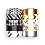 UNIQOOO 10 Rolls Adhesive Holiday Washi Tape Masking Tape Set, Metallic Foil Gold Silver Black, 32 Feet Each Roll- Perfect for Christmas Crafting DIY, Gift Wrapping, Scrapbook, Bullet Journal (Color: Gold/Silver/Black(10 rolls))