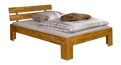 Französisches Bett 140x200 Doppelbett Eiche-Bettgestell massiv geölt ohne Zubehör 60.85-14 oR