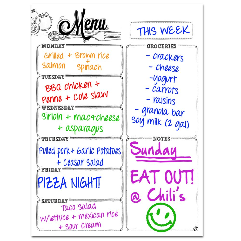 Monday to Saturday Magnetic Dry Erase Refrigerator Whiteboard Menu Planner | Vertical Portrait Design | 30 Mil Thicker Magnet | Use as Planner Calendar, Meal, Grocery, To Do or Chore List Magnet