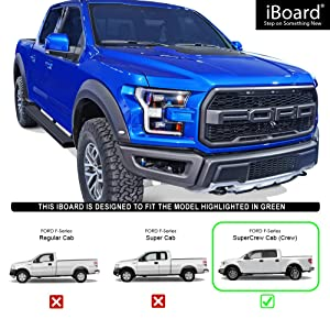 TAC 4.25 Side Steps Fit 2009-2014 Ford F150 Supercrew Cab Truck Pickup Oval Bend Black PNC Side Steps Nerf Bars Running Boards Rock Panel Off Road Exterior Accessories 2 Pieces Running Boards