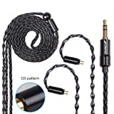 FDBRO 8-core Earphone Upgrade Cable CD Texture Plug Replacement Cable Detachable Ear-Hook Type OFC Silver Plated Earphone Cable for UM3X ES3 ES5 W4R ZS5 ZS6 ZS10 ZST ZSR (0.78mm 2PIN, Black+3.5mm) (Color: Black+3.5mm, Tamaño: 0.78mm 2PIN)