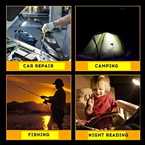 SHINROW LED COB Work Light,Rechargeable Portable Lamp Flashlight with Hanging Hooks Magnetic Base,Ultra Bright Inspection Lamp 360° Rotated for Car Repair,Home Using Emergency Red (Color: Red)