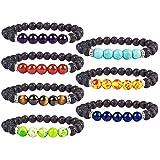 YISSION 7 Pack 7 Chakras Gemstone Bracelet Natural Stones Stretch Bracelets Yoga Reiki Prayer Beads Diffuser Bracelet (Color: Black Red green blue purple yellow brown)