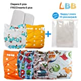 Reusable Baby Cloth Pocket Diapers, 6 pcs + 6 Inserts, Aanimal, One Size (Color: Aanimal, Tamaño: One Size)