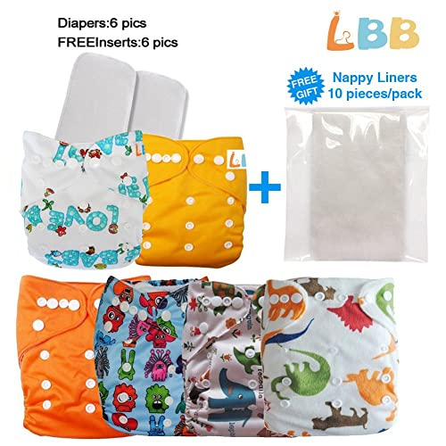 Reusable Baby Cloth Pocket Diapers, 6 pcs + 6 Inserts