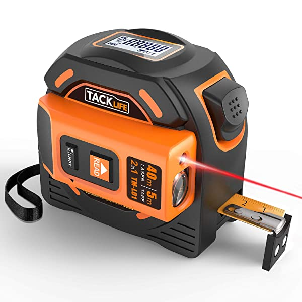 Laser Tape Measure 2-in-1, Laser Measure 131 Ft, Tape Measure 16 Ft Metric and Inches with LCD Digital Display, Movable Magnetic Hook, Screwdriver, Nylon Coating for DIY, Construction - TM-L01 (Color: Orange&Black, Tamaño: TM-L01)