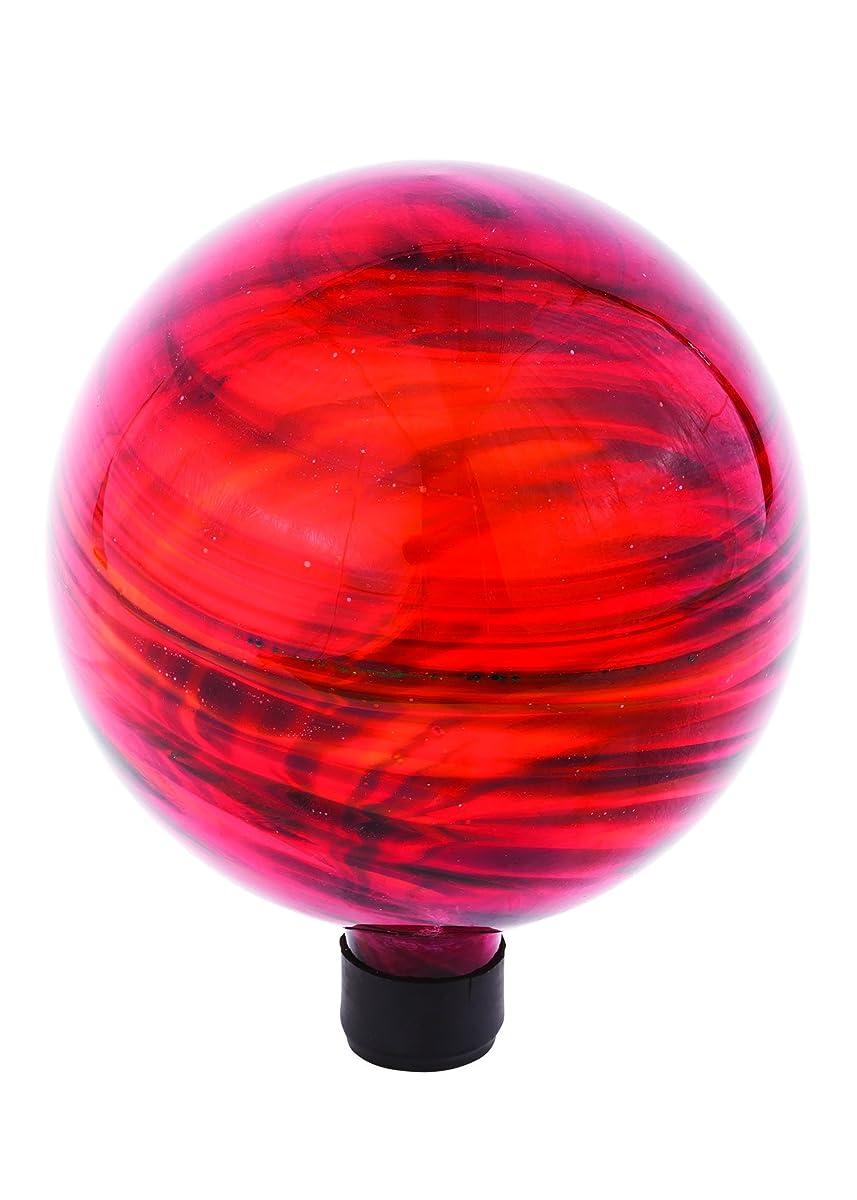 "Russco III GD137180 Glass Gazing Ball, 10"", Red Swirl"