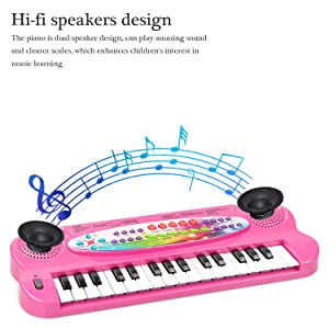 aPerfectLife 32 Keys Piano Keyboard for Kids Multifunction Portable Piano Electronic Keyboard Music Instrument for Kids Early Learning Educational Toys for 3 Year Old Girls (Pink)