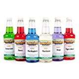 Hawaiian Shaved Ice 6 Flavor Pint Pack | Includes 6 Snow Cone Syrups [16oz Each] – Cherry, Grape, Blue Raspberry, Tiger's Blood, Lemon-Lime, Pina Colada