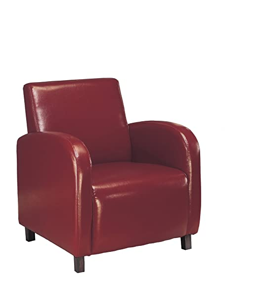Monarch Specialties Leather-Look Accent Chair, Burgundy: Amazon.ca: Home & Kitchen