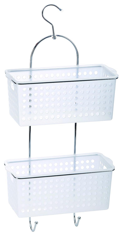 2 Tier Plastic Chrome Hanging Bathroom Organiser Shower