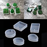 Amrka DIY Silicone Mould Craft Mold For Resin Necklace Jewelry Pendant Making (5Pcs Silicone Mould) (Color: 5pcs Silicone Mould, Tamaño: 1.10