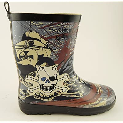 Boys Skulls Bones Pirate Wellington Boots