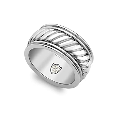 Hoxton London Men's Sterling Silver Twist Wide Ring