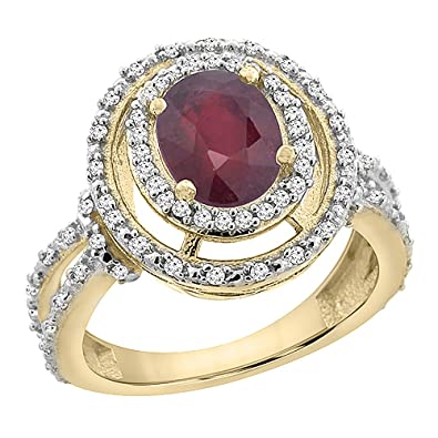 14ct Yellow Gold Enhanced Ruby Ring Oval 8x6 mm Double Halo Diamond, size M