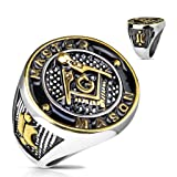 Gold and Black Masonic Symbol Casting Ring in Stainless Steel - Available in Sizes 09 to 13 (11)
