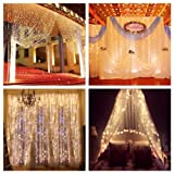 ZSTBT DM-304LWW/1 Party Wedding Home Patio Lawn Garden Linkable 304LED 9.84ft Window Curtain Icicle Fairy Lights for P, Warm White (Color: Warm White)