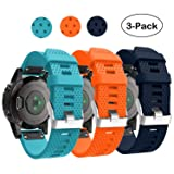 Garmin Fenix 5S Watch Band, Fenix 5S Plus Bands Silicone Quick Release Easy Fit 20mm Replacement Bands Straps Wristbands for Garmin Fenix 5S Smart Watch, Not Fit Fenix 5 5X (Blue Orange Navy) (Color: Blue Orange Navy)