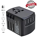 Universal Travel Adapter, NEWVANGA International Travel Power Adapter, Worldwide All in One Rapid Charge 4 USB Ports Travel Plug Adapter Converter Wall Charger for European UK AUS Asia Phone Laptop (Color: Black, Tamaño: Travel Portable Size)
