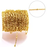 Tiparts 33 Feet 18K Gold Plated Satellite Chains Beaded Ball Cable Thin Chains Stainless Steel Necklace Spool Bulk for Jewelry Making(Gold Chain Width:1.5mm;Bead Diameter:2mm) (Color: Gold, Tamaño: Chain Width 1.5mm;Bead Diameter:2mm)