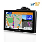 GPS Navigation for car (7 inch/8GB) NAVRUF Vehicle GPS Navigation System with Built-in Lifetime Maps,FM Car Navigation and Spoken Turn-by-Turn Directions (Color: black, Tamaño: 7.1inch)