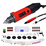 GOXAWEE Rotary Tool Kit 240W/2.2 Amp - 82Pcs Multifunctional Power Tool Set with 1/4 inch Universal 3-Jaw Chuck (0.5-6 mm Collet), 6 Step Variable Speed, Advanced Flex Shaft & Versatile Accessories (Color: Red and Black, Tamaño: Medium)