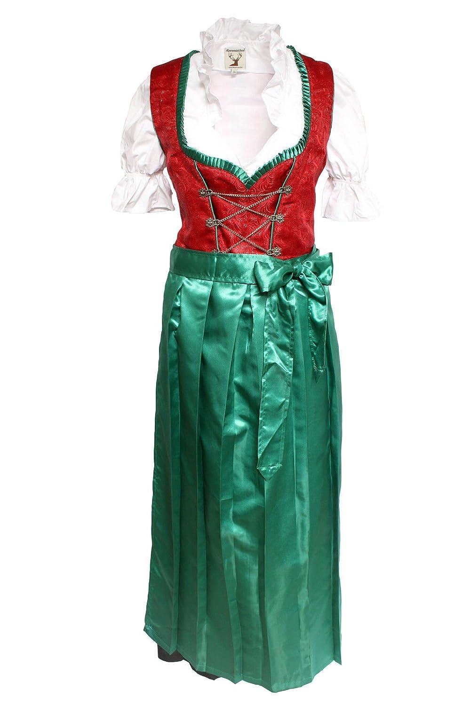 Alpenmärchen, 3tlg. Dirndl-Set – Trachtenkleid, Bluse, Schürze, Gr. 36-60, rot-grün – ALM500R günstig bestellen